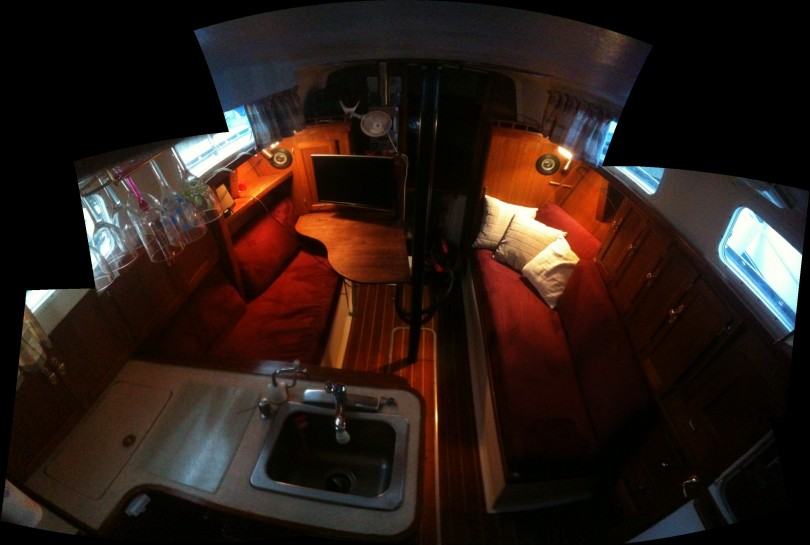 Inside view of the sailboat